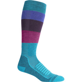 Icebreaker Ski+ Medium OTC Wide Stripe Calcetines Mujer, arctic teal